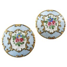 "Two Antique Victorian Painted Enamel Gilt Metal Buttons 7/8"" - one damaged"
