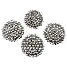 "Four Antique Victorian Cut Steel Buttons - just under  1 1/4"""