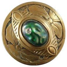 """Large Antique Art Nouveau Gay Nineties Gilt Brass Glass Escutcheon Paste Button 1 1/2"""""""