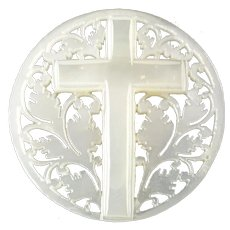 """Large Carved Openwork Mother of Pearl Bethlehem Holy Land Jordan Pearl Button Cross - just under 1 5/16"""""""