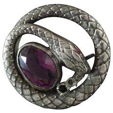 """Stones missing - Antique Art Nouveau Paste Amethyst Snake Serpent Metal Button 1 1/8"""""""