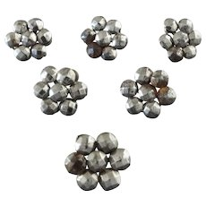 """A Set of Six Antique Victorian Cut Steel Buttons 3/8"""" - great for dolls or historical costumes"""