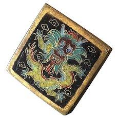 "Lucky Dragon Antique Chinese True Cloisonné Enamel Gilt Metal Button 13/16"""