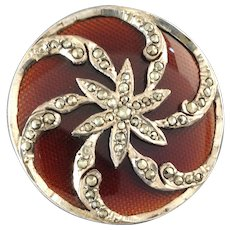 """Large Antique Victorian Marcasite Set Low Grade Silver Button with Enamel or Glass Inlay 1 1/4"""""""