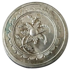 """Large Antique Georgian Silvered Metal Button Bone Back with Cat Gut 1 5/16"""" 18th Century Flowers"""