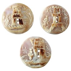 Three Antique Victorian Carved Shell Cameo Buttons Woman House Tree Tower Landscape 3/4""