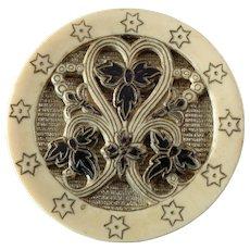 """Antique Victorian Gilt Celluloid Metal Composition Button 1 3/16"""""""