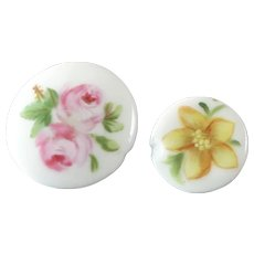 "Damaged - 2 Royal Copenhagen Porcelain Buttons Handpainted  Signed Flowers 11/16"" and 15/16"""