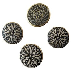 "Four Antique Vicorian Black Champlevé Enamel Metal Buttons Maltese Cross 7/8"" and 1 1/16"""