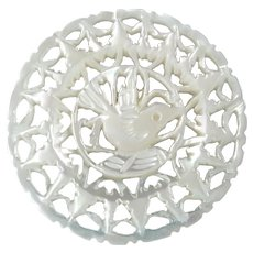 """Large Jordan Pearl Bethlehem Holy Land Carved Openwork Mother of Pearl Dove Bird Button 1 3/8"""""""