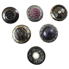 "Six Antique DUG Design under Glass and Glass Inlay Buttons 15/16"" to 1 1/16"