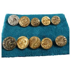 "A Card of 10 Antique Victorian Gilt Metal Picture Buttons Cupid Scallop Roses Fan 1/2"" to 5/8"""
