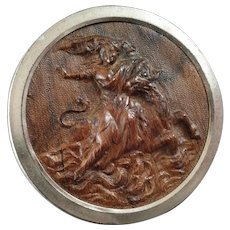 Large Antique Victorian Pressed Wood Metal Button The Abduction of Europa 1 3/4""