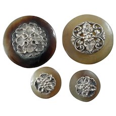 "Four Antique or Vintage Genuine Horn Silver Escutcheon oriental Buttons 1 3/8"" and 3/4"""