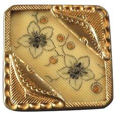 """Large Antique Victorian Celluloid Gilt Metal Composition Button 1 1/4"""""""