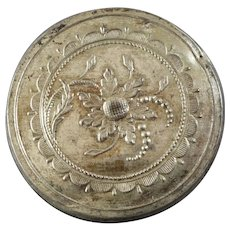 "Large Antique Georgian Silvered Metal Button Bone Back with Cat Gut 1 5/16"" 18th Century Flowers - please see condition"