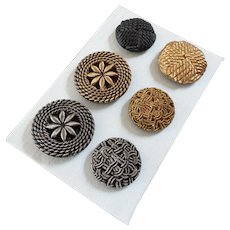 """A Card of Six Large Vintage New Gablonz Passementerie Imitating Black Glass Buttons Gilt and Platinized - up to 1 9/16"""""""