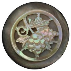 """Large Antique Victorian Carved Mother of Pearl Vine Grapes Button 1 3/8"""""""