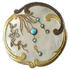 "Antique Victorian Carved Gilt Mother of Pearl Button with Turquoise - a hair under 7/8"" - one stone missing"