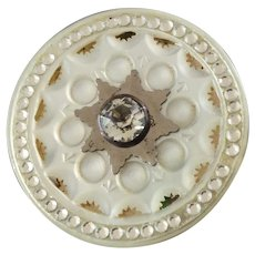 """Large Antique Georgian Carved Foiled Mother of Pearl Steel Paste Button 1 7/16"""""""