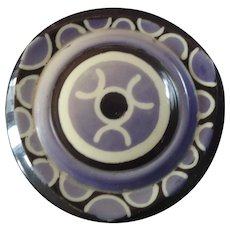 "Large Art Deco Casein Galalith Button Stencil Pattern 1 9/16"""