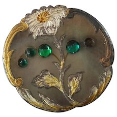 Antique Victorian Carved Gilt Silvered Mother of Pearl Button Green Paste Stone missing 7/8""