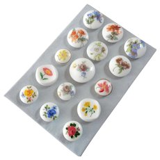 """A Card of 15 Vintage White Glass Buttons Handpainted and Printed Flowers - up to 1"""" ; one button chipped"""
