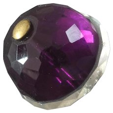 Antique Victorian Amethyst Purple Clear Glass Paste Button 13/16""