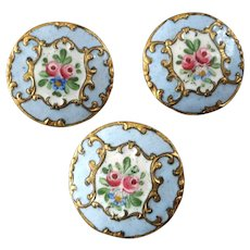 "Three Antique Victorian Painted Enamel Gilt Metal Buttons 7/8"" - two damaged"