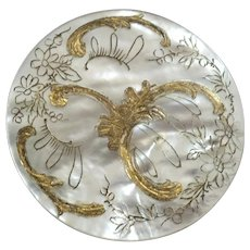 """Large Antique Victorian Etched Gilt Mother of Pearl Button Flowers Scrollwork 1 3/8"""""""