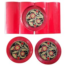 "Art Deco Celluloid Buttons Buckle Set Flowers with Glitter Cherry Red 1 3/16"" and 2 11/16"""