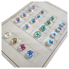 "Vintage 1950s Sample Card of 20 New Gablonz Lampworked Paperweight Glass Buttons Flowers Mica 3/8"" to 9/16"""