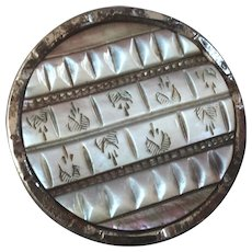 Large Antique Victorian Engraved Mother of Pearl Steel Button 1 7/16""