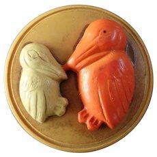 """Vintage Art Deco Figural Celluloid Button Birds Pelican 13/16"""""""