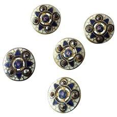 "Five Antique Victorian Enamel Cut Steel Gilt Brass Openwork Buttons Roses - just under 9/16"""