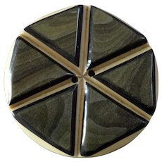"""Large Vintage Art Deco Layered Celluloid Wafer Button Six Pointed Star Hexagonal 1 15/16"""""""