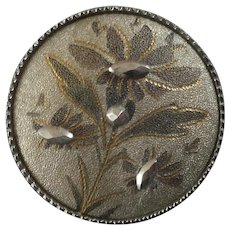 """Antique Victorian Steel Cup Cut Steel Engraved Tinted Metal Button Flower 1 1/16"""""""