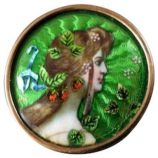 "Button turned into Brooch: Antique Art Nouveau Guilloche & Painted Enamel Button Strawberries Season Woman 1 1/16"" Signed"
