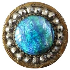 Antique Victorian Brass Cut Steel Fancy Glass Jeweled Gay Nineties Button - just under 1 1/8""