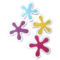 "Four Large Vintage Two-Piece Plastic Buttons Splash Stylized Flower 1 3/4"""