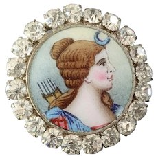 "Antique Victorian Goddess Diana Enamel Paste Button 7/8"" - Fleabite Chip"