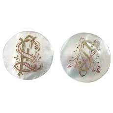 A Pair of Large Antique Victorian Engraved Mother of Pearl Lapel Stud Buttons Initials Monograms - just under 1 3/8""