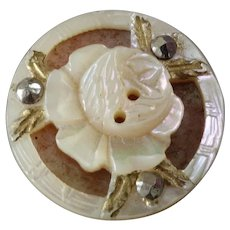 """Delicate Antique Victorian Carved Mother of Pearl Cut Steel Rose Button 11/16"""""""