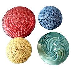 "Four Vintage Plastic Resin Plaited Raffia Buttons 7/8"" to 1 5/16"""