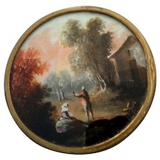 "Large Antique Georgian Painted on Paper under Glass Metal Button Pastoral Peasant Landscape Scene 1 1/2"""