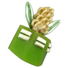 "Large Vintage Marion Weeber ? Flower Plant Cactus Celluloid Button 1 1/4"""