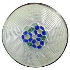 "Antique Scandinavian Norwegian Sterling Silver Guilloche Enamel Button Blue Flowers Forget me not 9/16"""