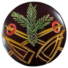 """Vintage Art Deco Carved Casein Galalith Ski Christmas Winter Sports Button - a hair under 1"""""""