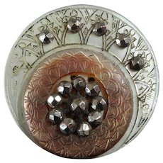 """Antique Victorian Etched Dyed Carved Mother of Pearl Cut Steel Button 1"""""""