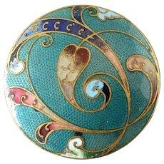 """Antique Victorian Faux Guilloche Champlevé Enamel Button Heart Shaped Leaf 1 1/16"""""""